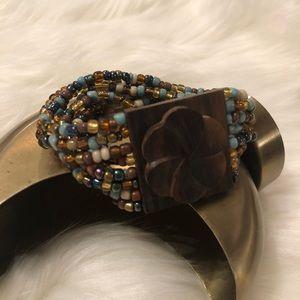 🆕Floral Wood & Bead Bracelet